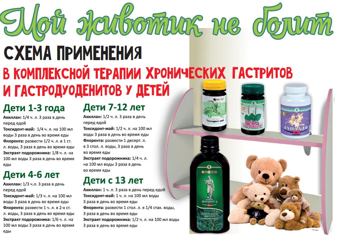 Схемы применения в комплексной терапии хронических гастритов и гастродуоденитов у детей