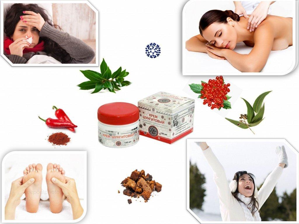 Крем шунгитовый с красным перцем, камфорой и маслом эвкалипта – массаж в любое время года